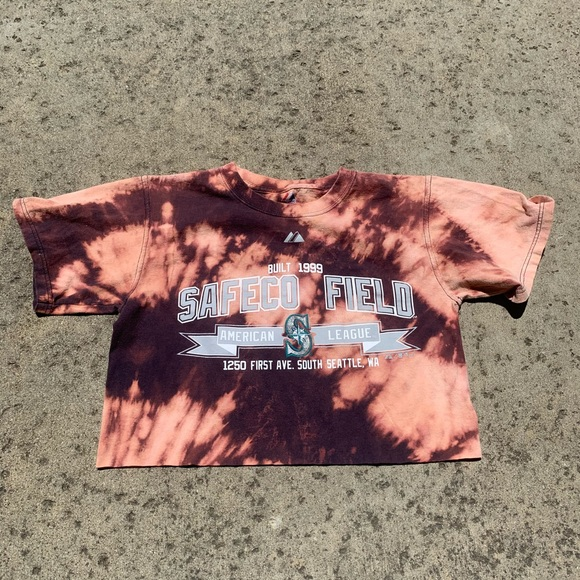 Majestic Tops - Safeco Field Seattle Mariners Bleach Dye Crop Top